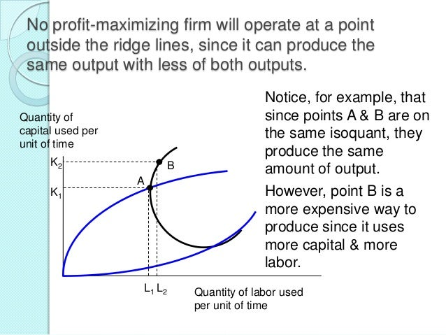 Marginal rate of technical substitution (MRTS) The slope of the isoquant The rate at which you can trade off inputs and st...
