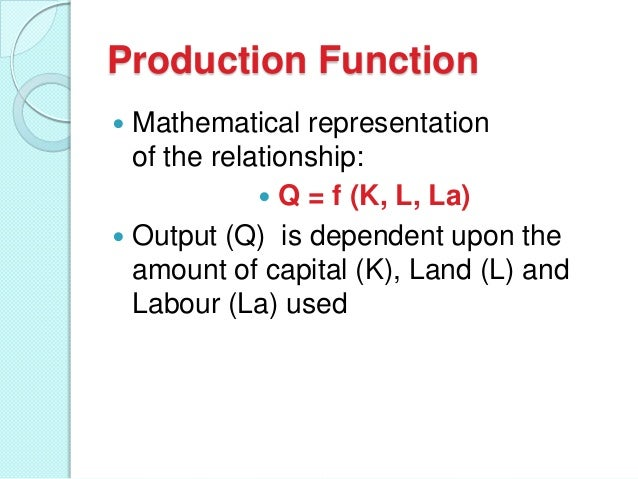 Production Function Mathematical representation of the relationship:  Q = f (K, L, La)  Output (Q) is dependent upon the...