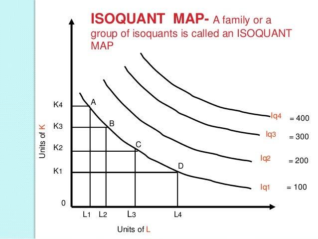 Slope of isocost line M=PL.QL+PK.QK Where, M=total outlay PL= price per unit of labor PK= price per unit of capital QL= un...