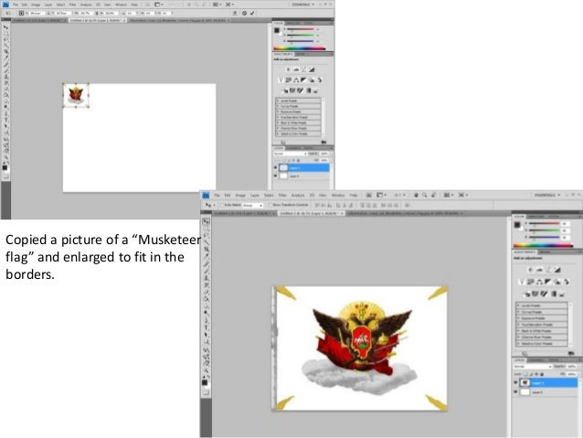 """Copied a picture of a """"Musketeer flag"""" and enlarged to fit in the borders."""