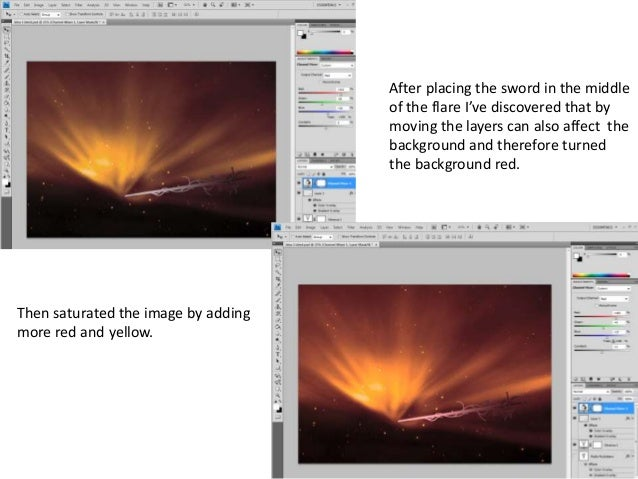 After placing the sword in the middle of the flare I've discovered that by moving the layers can also affect the backgroun...