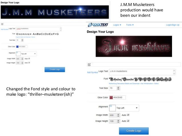 """J.M.M Musketeers production would have been our indent Changed the Fond style and colour to make logo: """"thriller–musketeer..."""