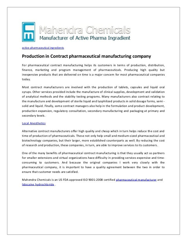 Production In Contract Pharmaceutical Manufacturing Company