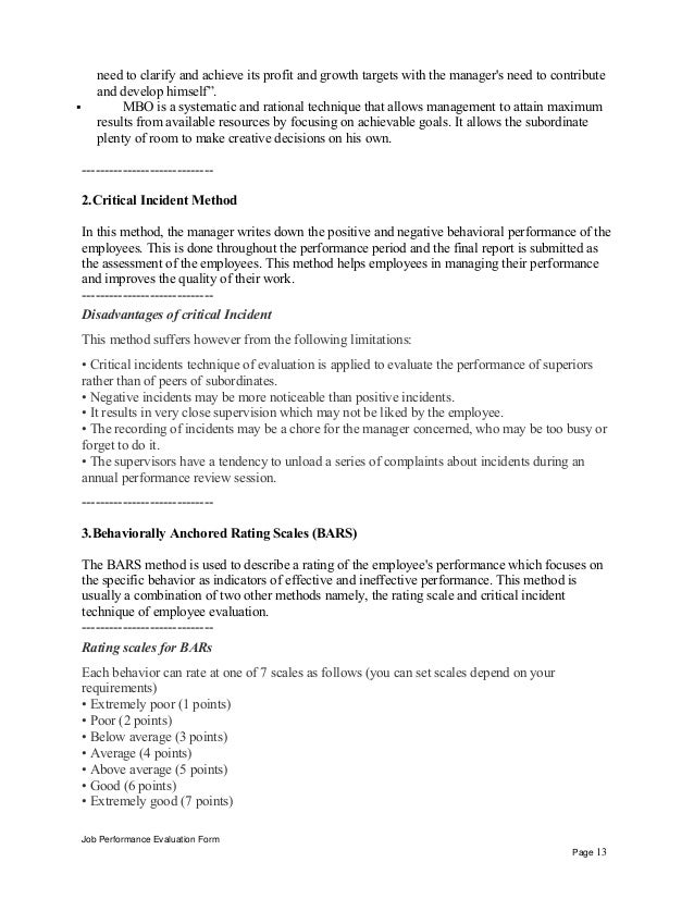 job evaluation letter sample