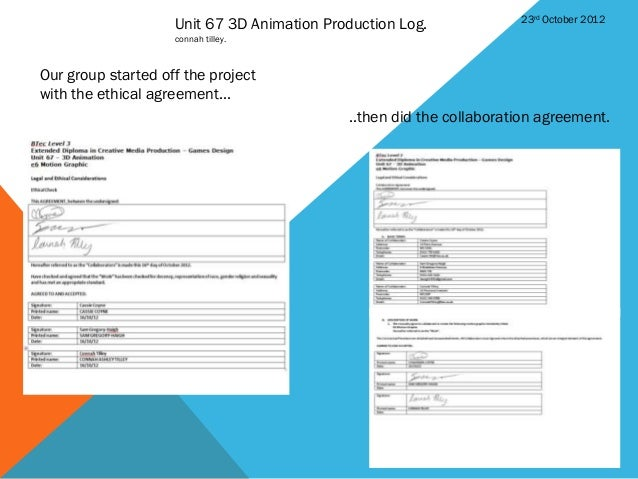 23rd October 2012                    Unit 67 3D Animation Production Log.                    connah tilley.Our group start...