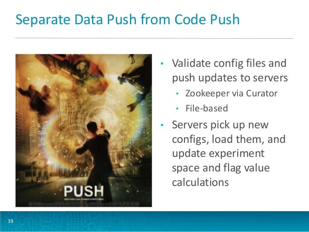 Separate Data Push from Code Push •  Validate config files and push updates to servers • •  •  39  Zookeeper via Curator F...