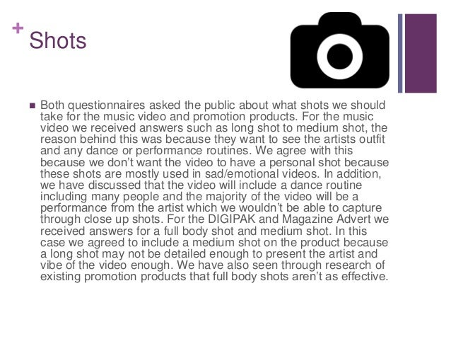 + Shots  Both questionnaires asked the public about what shots we should take for the music video and promotion products....