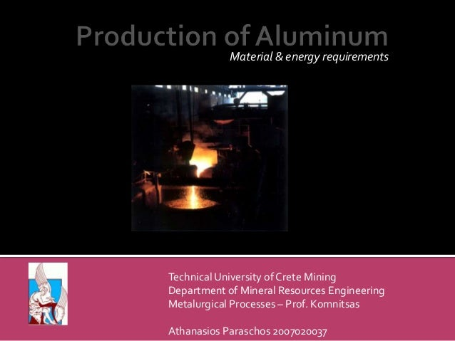 Material & energy requirements  Technical University of Crete Mining Department of Mineral Resources Engineering Metalurgi...