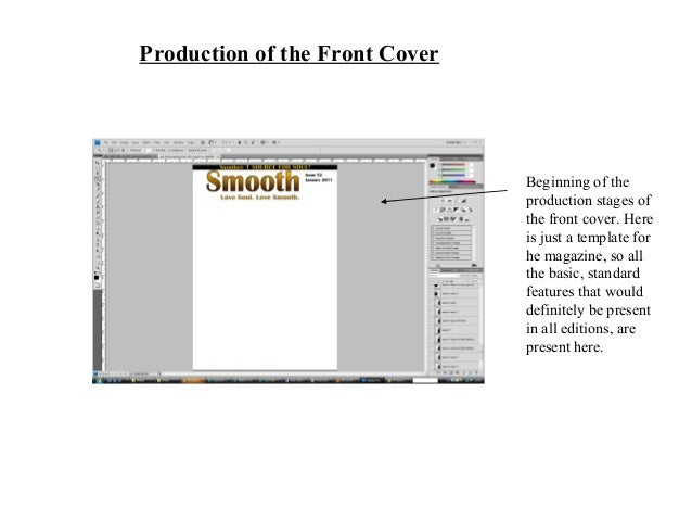 Production of the Front Cover Beginning of the production stages of the front cover. Here is just a template for he magazi...