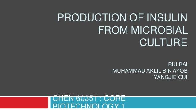 PRODUCTION OF INSULIN FROM MICROBIAL CULTURE RUI BAI MUHAMMAD AKLIL BIN AYOB YANGJIE CUI  CHEN 60351 : CORE BIOTECHNOLOGY ...
