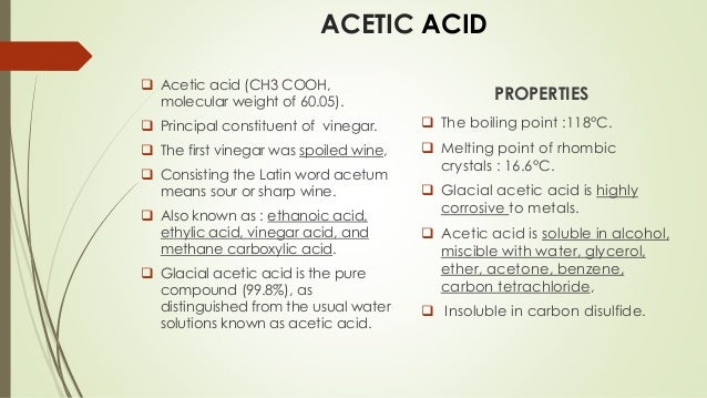 Ethanoic Acid Physical Properties