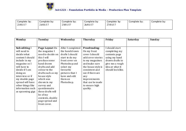 Production plan template