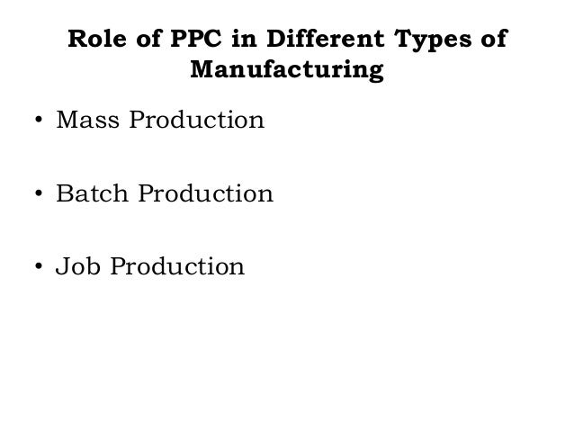 Role of PPC in Different Types of Manufacturing • Mass Production • Batch Production • Job Production