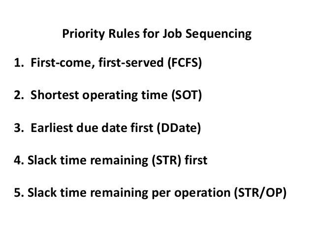 Example of Job Sequencing: Earliest Due Date First Jobs (in order Processing Due Date of arrival) Time (days) (days hence)...
