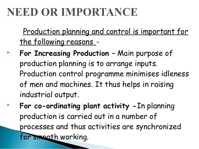 importance of production control