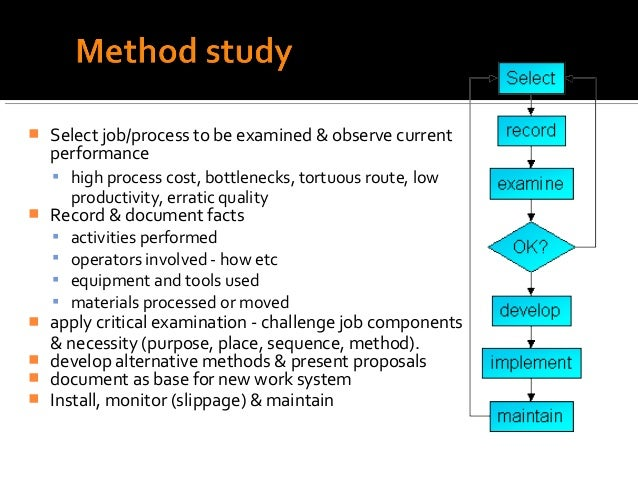    Select job/process to be examined & observe current    performance     high process cost, bottlenecks, tortuous route...