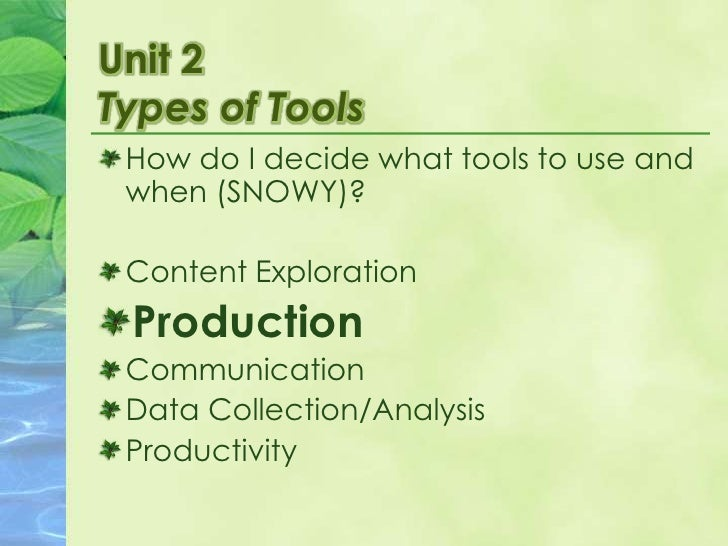 Unit 2Types of Tools<br />How do I decide what tools to use and when (SNOWY)?<br />Content Exploration<br />Production<br ...