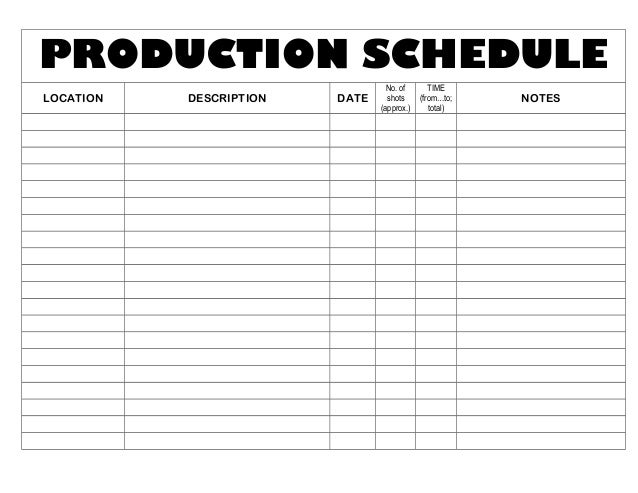 production schedule template mvid