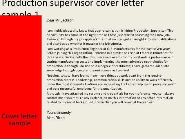 Marvelous Production Supervisor Cover Letter