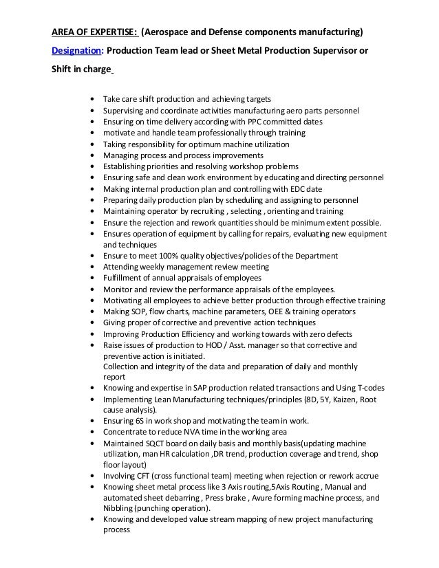 production supervisor resume sample resume examples for production ...