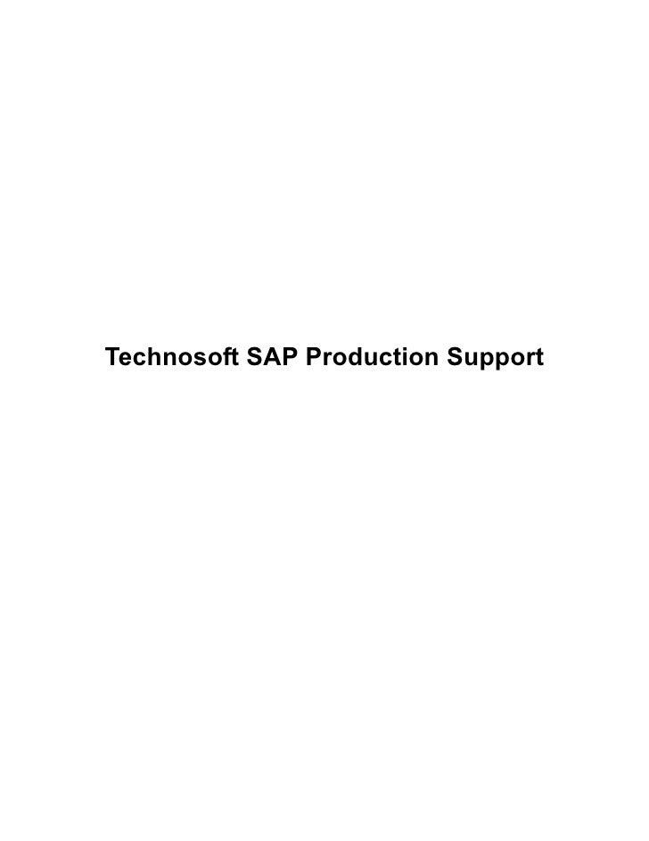 Technosoft SAP Production Support