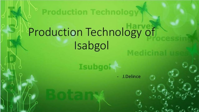 Production Technology of Isabgol - J.Delince