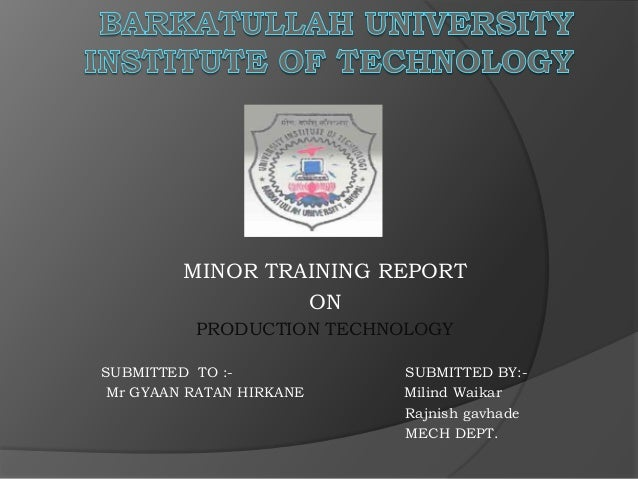 MINOR TRAINING REPORT ON PRODUCTION TECHNOLOGY SUBMITTED TO :- SUBMITTED BY:- Mr GYAAN RATAN HIRKANE Milind Waikar Rajnish...