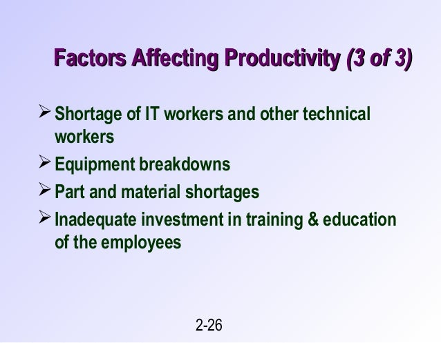 factors affecting the employees productivity in All companies want to improve employee productivity, but how often do they do examine their own management practices as a means of attaining it.
