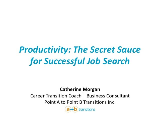 Productivity: The Secret Sauce for Successful Job Search Catherine Morgan Career Transition Coach | Business Consultant Po...