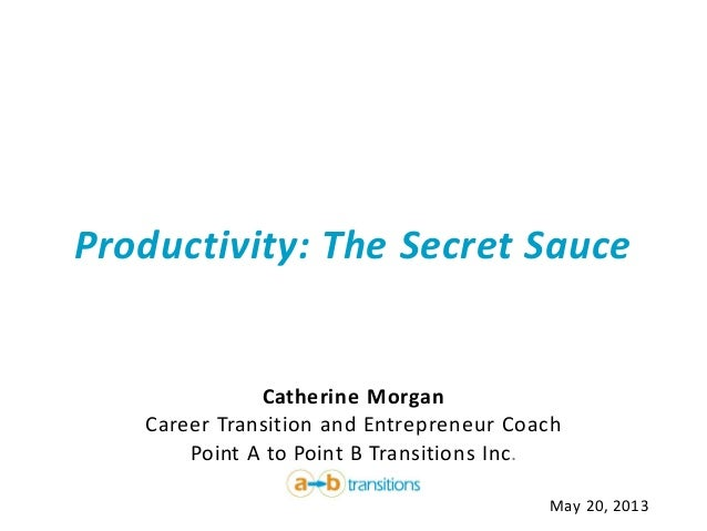 Productivity: The Secret SauceCatherine MorganCareer Transition and Entrepreneur CoachPoint A to Point B Transitions Inc.M...