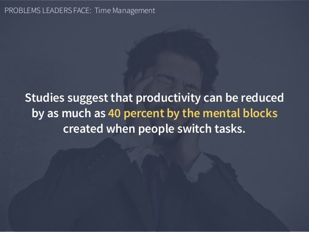 PROBLEMS LEADERS FACE: Time Management Studies suggest that productivity can be reduced by as much as 40 percent by the me...