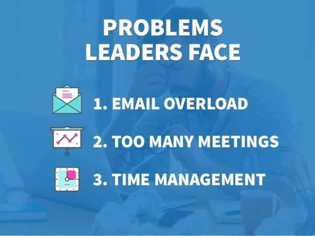 PROBLEMS LEADERS FACE 1. EMAIL OVERLOAD 2. TOO MANY MEETINGS 3. TIME MANAGEMENT