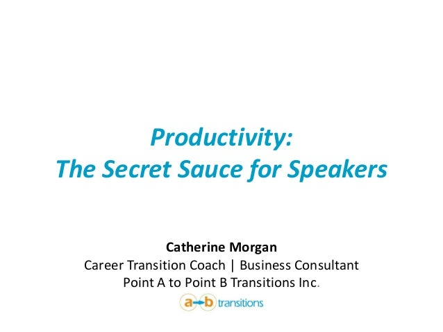 Productivity: The Secret Sauce for Speakers  Catherine MorganCareer Transition Coach | Business ConsultantPoint A to Point...