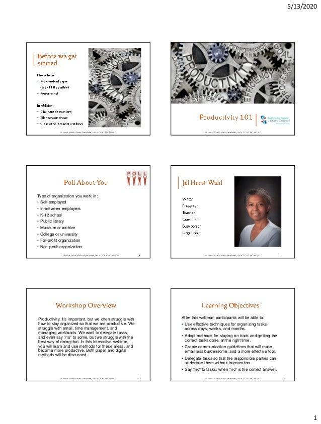5/13/2020 1 Jill Hurst-Wahl  Hurst Associates, Ltd.  CC BY-NC-ND 4.0 • • • • • Jill Hurst-Wahl  Hurst Associates, Ltd. ...