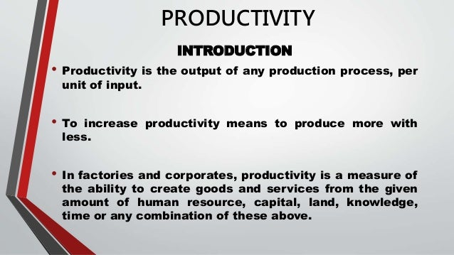 Productivity And Operation Management