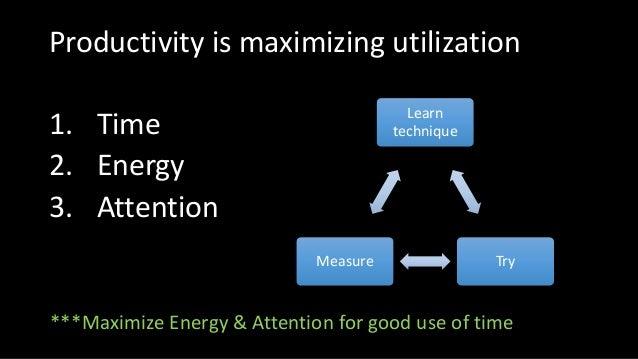 Productivity is maximizing utilization 1. Time 2. Energy 3. Attention Learn technique TryMeasure ***Maximize Energy & Atte...