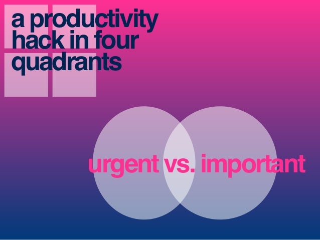 urgent vs. important a productivity hack in four quadrants