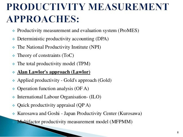 productivity measurement This is an iterative process that provides creation of the productivity baseline, ongoing productivity measurement, reporting, and continuous improvement.