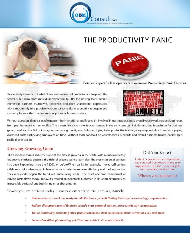 E-Entrepreneur. Overcome Productivity panic disorder!