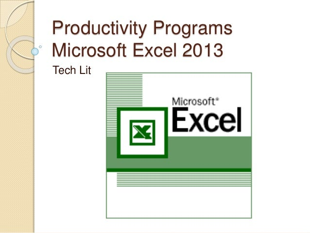 productivity programs excel assignment 1