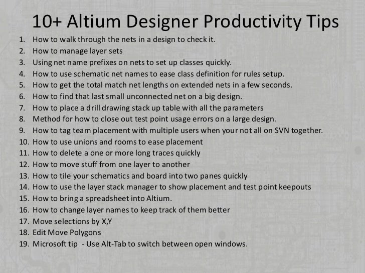 Productivity Tips For Altium Designer