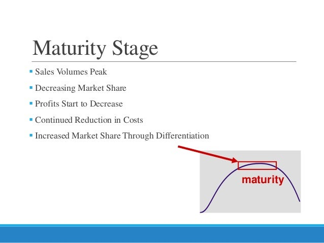 Product life cycle maturity stage