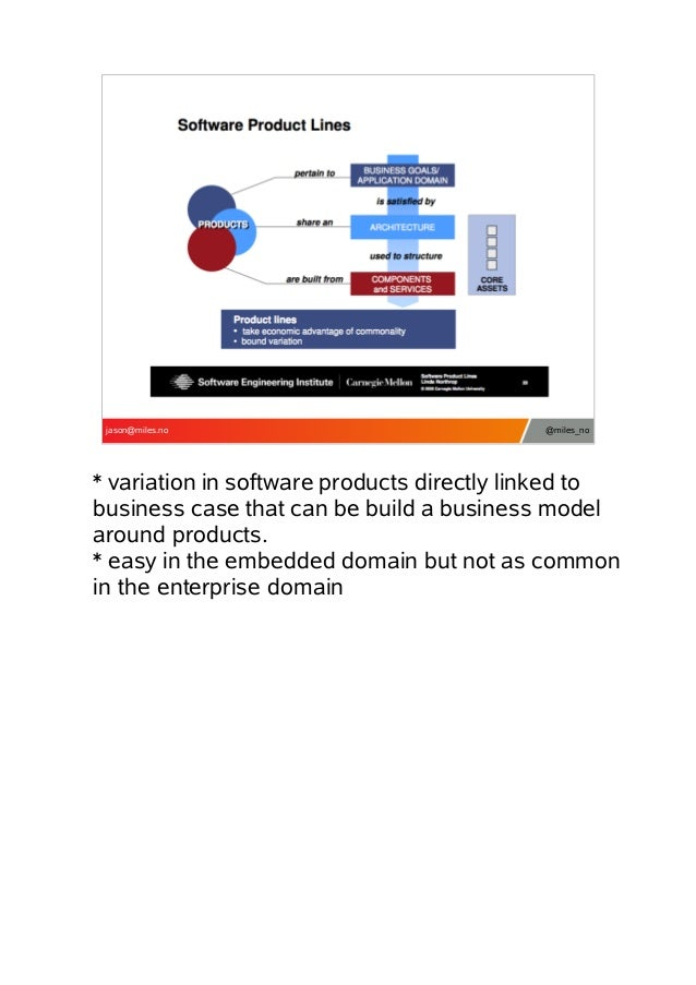 jason@miles.no  @miles_no  * variation in software products directly linked to business case that can be build a business ...