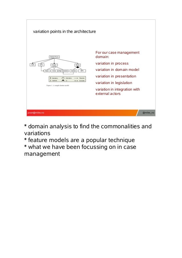 variation points in the architecture  For our case management domain: variation in process variation in domain model varia...