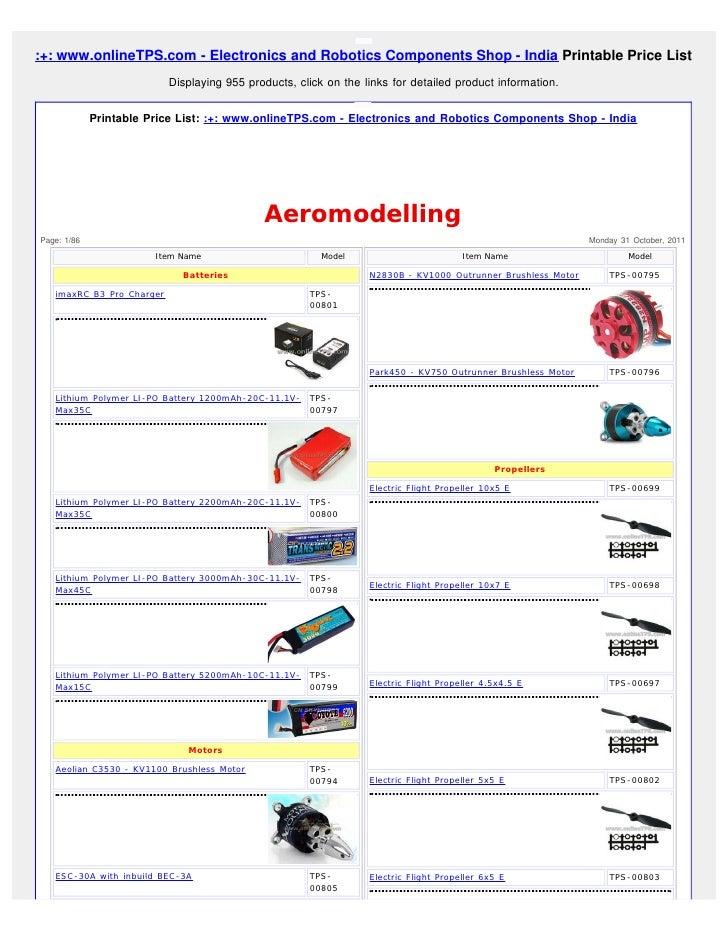 :+: www.onlineTPS.com - Electronics and Robotics Components Shop - India Printable Price List                           Di...