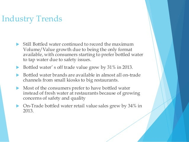 analysing the bottled water industry Industry analysis the market for bottled drinking water has been growing  rapidly since the 1980s, increasing nearly 400% in the last decade according to.