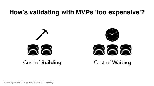 How's validating with MVPs 'too expensive'? Cost of Building Cost of Waiting Tim Herbig - Product Management Festival 2017...