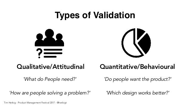 Types of Validation Quantitative/Behavioural 'Do people want the product?' 'Which design works better?' Qualitative/Attitu...
