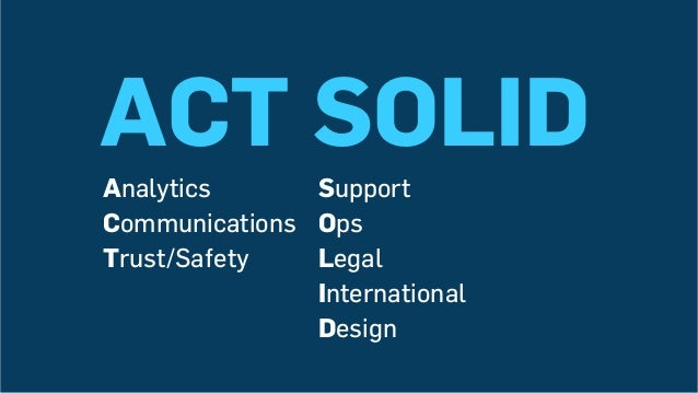 ACT SOLID Support Ops Legal International Design Analytics Communications Trust/Safety