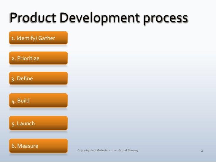 Product Development process<br />1. Identify/ Gather<br />2. Prioritize<br />3. Define<br />4. Build<br />5. Launch<br />6...